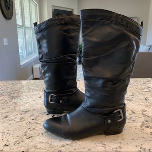 ALDO Black Leather Hers Tall Knee High Boots 8.5